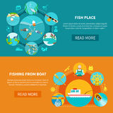 Floater Fishing Banners Set. Fishing banners with fish-tackle flat image compositions silhouette sailor signs text and read more button vector illustration Royalty Free Stock Image