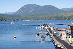 Floater plains at Porpoise Bay of Sechelt Inlet. With the view of Tetrahedron Provincial Park in Sunshine Coast, BC, Canada Stock Photos