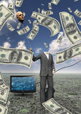 Floating. Man with head floating balloon and US currency Stock Image