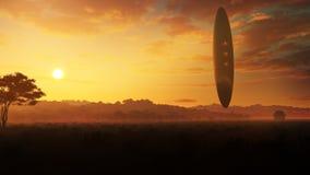 Floating Alien Pillar Over Pastoral Landscape Stock Images