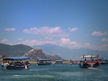 Floating along the Dalyan River. Stock Photo