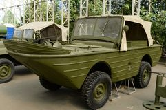 Floating amphibious vehicle `Ford-GPA` in the Museum of military equipment on Poklonnaya hill in Moscow. MOSCOW, RUSSIA - JUNE 20, 2018: Floating amphibious royalty free stock photography