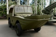Floating amphibious vehicle `Ford-GPA` in the Museum of military equipment on Poklonnaya hill in Moscow. MOSCOW, RUSSIA - JUNE 20, 2018: Floating amphibious stock image