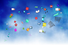 Floating application icons Royalty Free Stock Photo