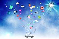 Floating application icons with trolley Royalty Free Stock Images