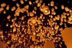 Floating asian lanterns Royalty Free Stock Photos