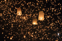 Floating asian lanterns ,Chiang Mai Thailand. Loating asian lanterns in Yee-Peng festival ,Chiang Mai Thailand Stock Image