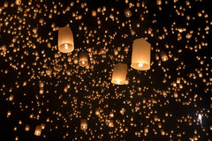Floating asian lanterns in Chiang Mai Thailand. Floating asian lanterns in Yee-Peng festival ,Chiang Mai Thailand Stock Photography