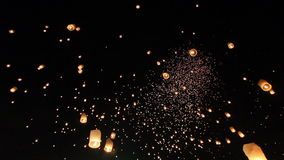 Floating asian lanterns in Chiang Mai Thailand stock footage