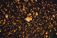 Floating asian lanterns ,Chiang Mai Thailand. Floating asian lanterns in Yee-Peng festival ,Chiang Mai Thailand Royalty Free Stock Photography