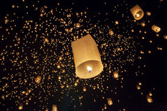 Floating asian lanterns in Chiang Mai Thailand. Floating asian lanterns in Yee-Peng festival ,Chiang Mai Thailand Royalty Free Stock Image