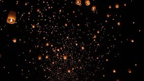 Floating asian lanterns in ChiangMai stock video footage