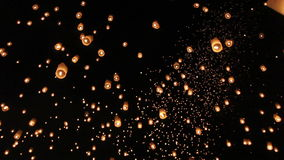 Floating asian lanterns in ChiangMai stock footage