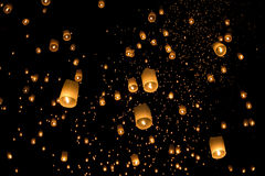 Floating asian lanterns in ChiangMai Royalty Free Stock Photo
