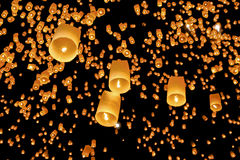Floating asian lanterns. In Yee-Peng festival ,Chiang Mai Thailand Royalty Free Stock Photo