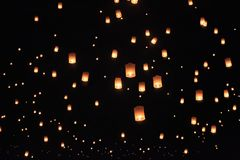 Floating sky lanterns in Chiang Mai ,Thailand. Floating asian sky lanterns in Chiang Mai ,Thailand Stock Photos