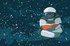 Floating astronaut reading a book in the open space, concept of poster stock illustration