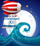 A floating balloon with the flag of Israel Stock Images