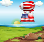 A floating balloon with flag of the United States Royalty Free Stock Image