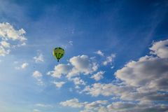 Floating balloon. Balloon floting in clear sky during summer time Stock Photo