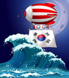A floating balloon with the South Korean flag Royalty Free Stock Photo