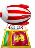 A floating balloon travelling. Illustration of a floating balloon travelling with the flag of SriLanka on a white background Stock Image