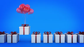 Floating balloons attached to a present. balloon with gift box. 3d rendering Stock Photo