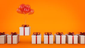 Floating balloons attached to a present. balloon with gift box. 3d rendering Stock Photos