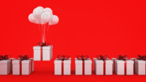 Floating balloons attached to a present. balloon with gift box. 3d rendering Royalty Free Stock Images