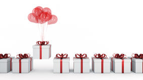 Floating balloons attached to a present. balloon with gift box. 3d rendering Stock Photography
