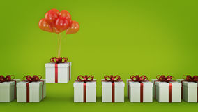 Floating balloons attached to a present. balloon with gift box. 3d rendering Stock Images