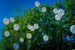Floating balloons into green wood Stock Photography