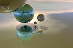 Floating balls. A background of floating glass orbs Stock Image