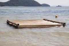 Floating bamboo raft. Bamboo raft floating in the sea, Phuket, Thailand Royalty Free Stock Image