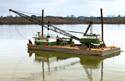 Floating barge and heavy duty crane, Oregon. Stock Photo
