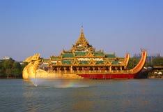 Floating Barge Karaweik in Yangon Stock Photography