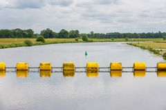 Floating barrage in Dutch river Vecht Royalty Free Stock Photos
