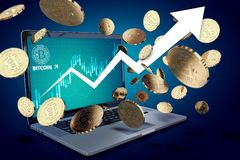 Floating Bitcoin coins against laptop with BTC success chart on-screen and arrow pointing up Royalty Free Stock Photos