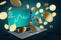 Floating Bitcoin coins against laptop with BTC success chart on-screen Royalty Free Stock Photo