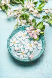 Floating blossom flowers with green leaves in  Turquoise blue water bowl on shabby chic wooden background, top view. Stock Photo