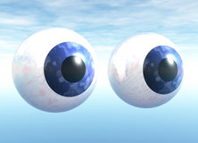 Floating Blue Eyeballs Royalty Free Stock Images