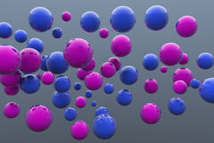 Floating blue and pink balls. 3D render image Royalty Free Stock Images