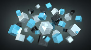 Floating blue shiny cube network 3D rendering. On dark background Stock Photos