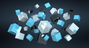 Floating blue shiny cube network 3D rendering. On dark background Stock Photo