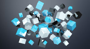 Floating blue shiny cube network 3D rendering. On dark background Royalty Free Stock Photos