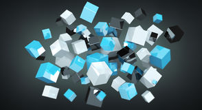Floating blue shiny cube network 3D rendering. On dark background Royalty Free Stock Images