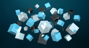 Floating blue shiny cube network 3D rendering. On dark background Royalty Free Stock Photo