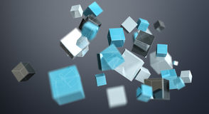 Floating blue shiny cube network 3D rendering. On dark background Stock Images