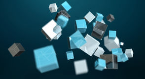 Floating blue shiny cube network 3D rendering. On dark background Stock Image