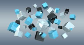 Floating blue shiny cube network 3D rendering. On grey background Royalty Free Stock Photos